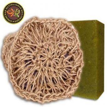 Мочалка вязаная с натуральным мылом Можжевельник